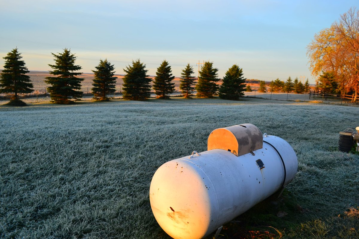 A propane tank sits on a lawn, with a line of evergreen trees in the distance.
