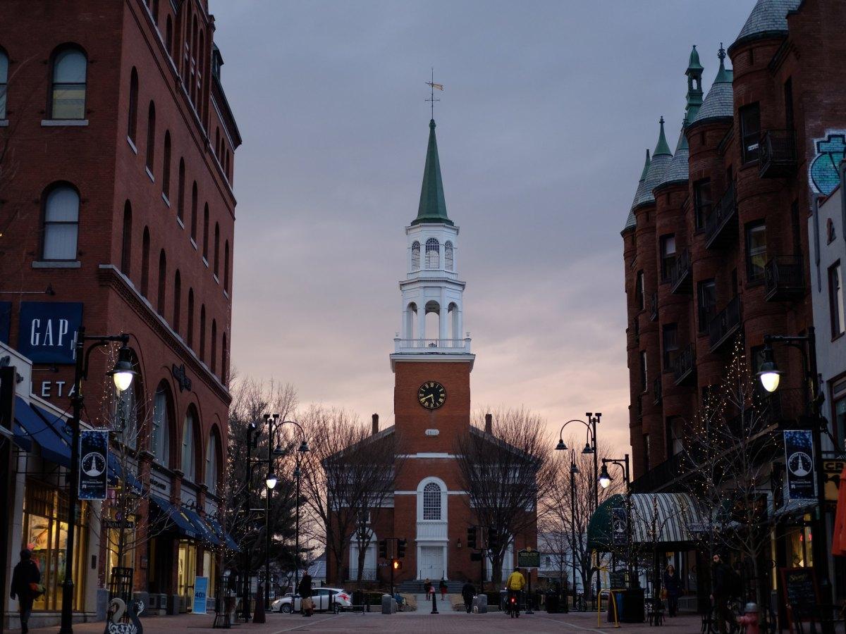 A pedestrian mall in Burlington, Vermont.