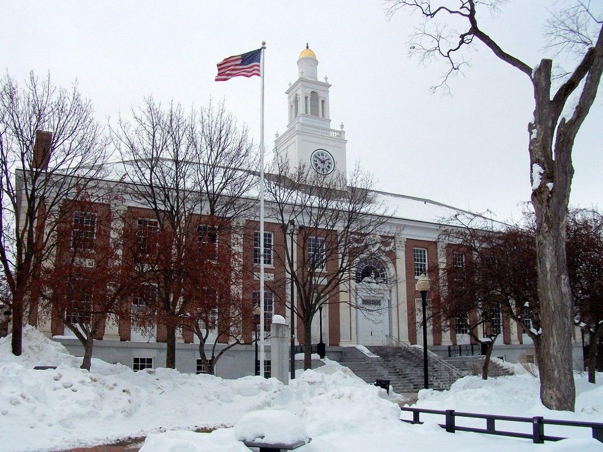 Snowy City Hall building in Burlington, Vermont.