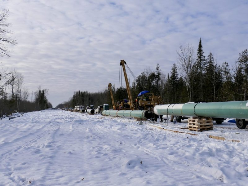 A 50-foot path through forest and wetland cleared to make way for the Line 3 oil pipeline.