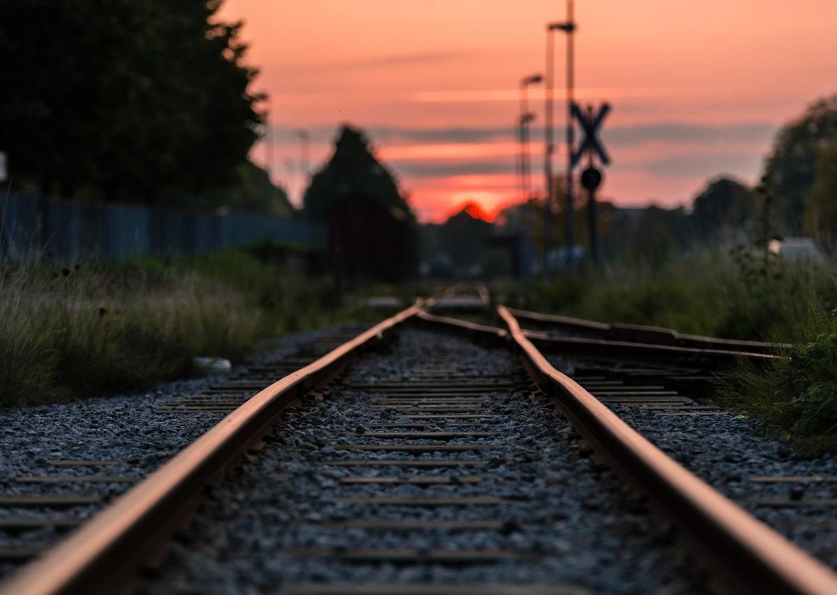 Railroad tracks.
