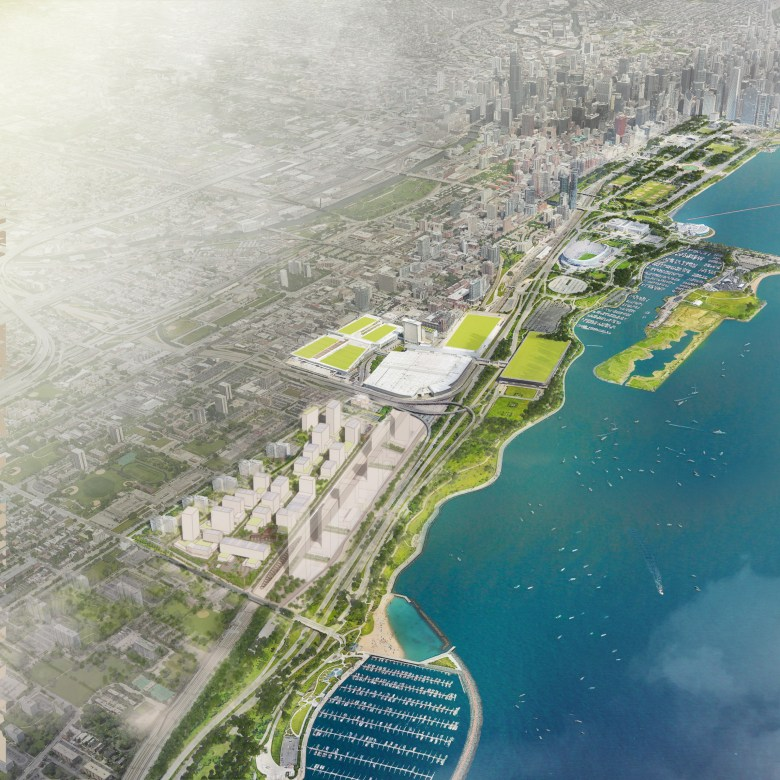 A rendering of the proposed Bronzeville Lakefront redevelopment.