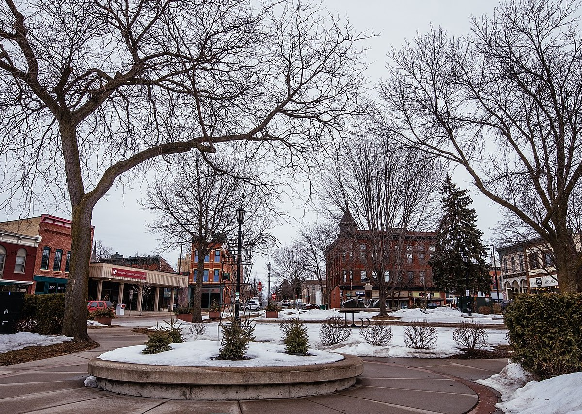 Bridge Square in downtown Northfield, Minnesota, in winter.