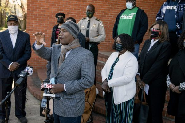 Turner speaks during an April event urging public officials to sign a pledge acknowledging and denouncing racism.