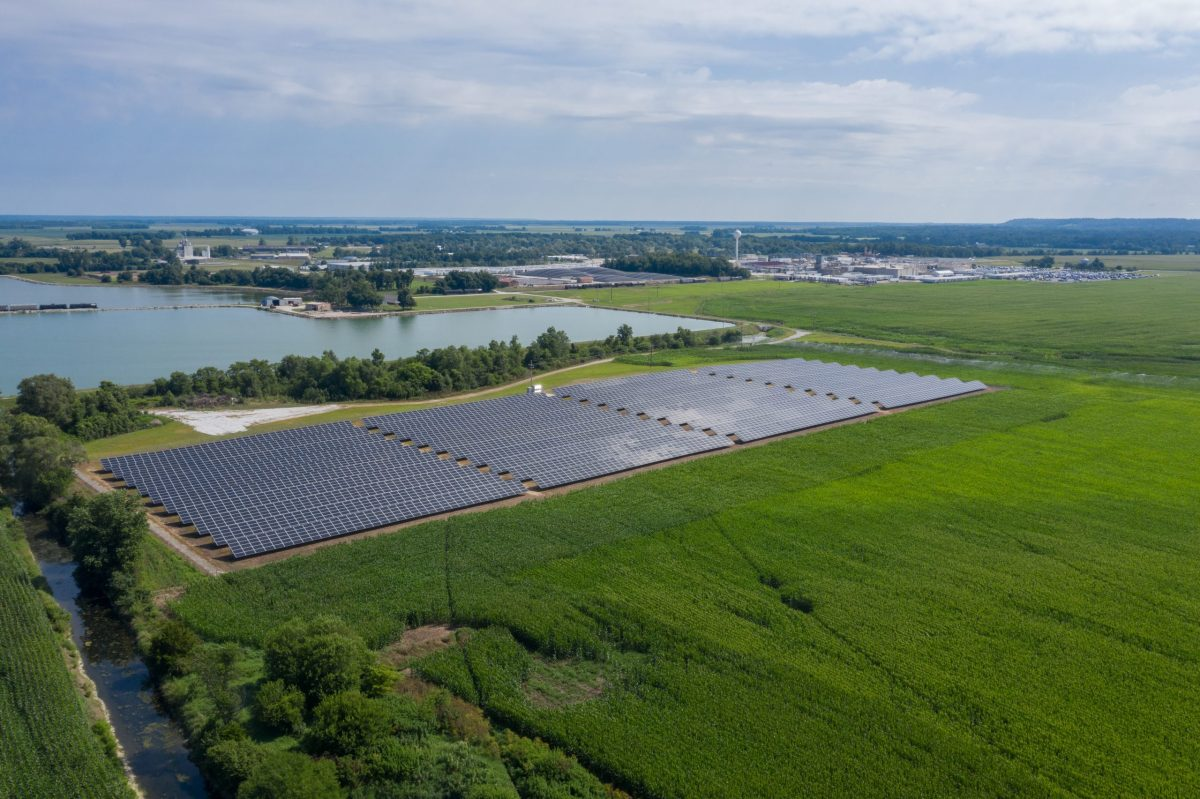 Aerial view of solar array.