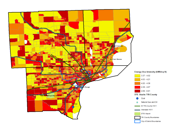 An infographic of the Detroit metro area shows the highest levels of energy use intensity are scatted throughout the city and suburbs.