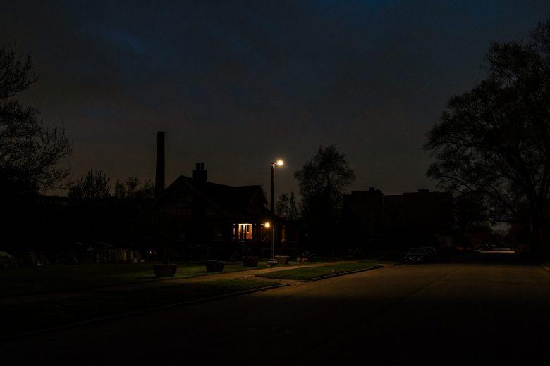 A streetlight near the Soulardarity office space.