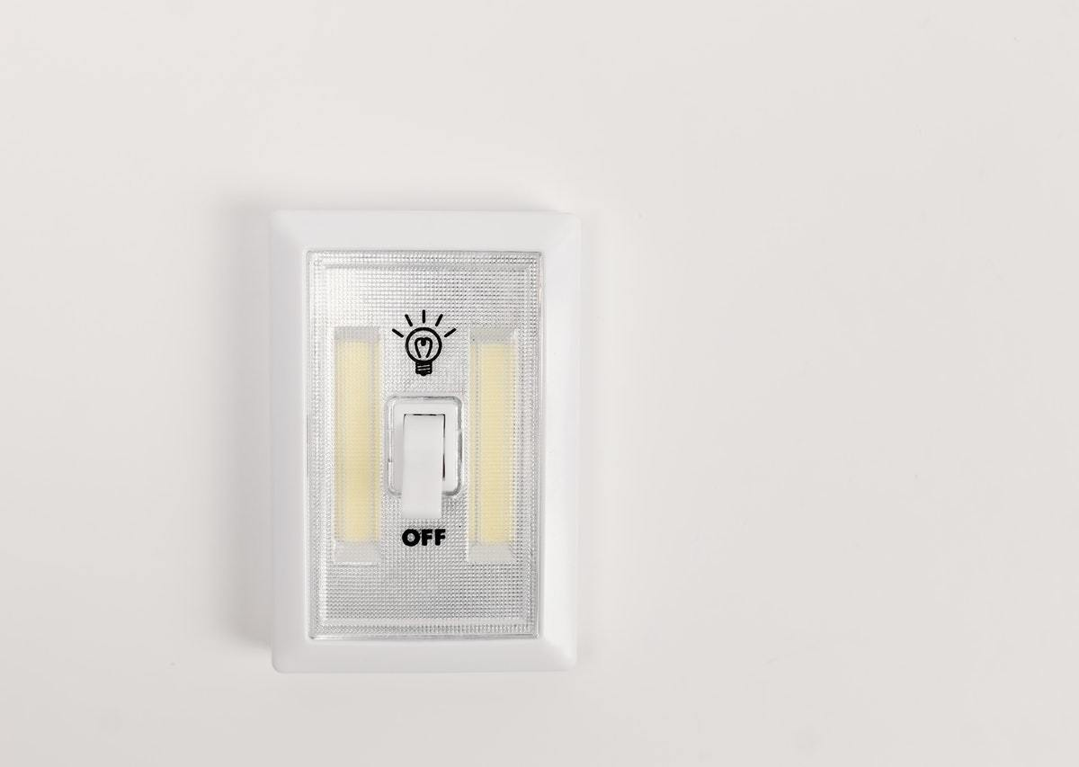 """A light switch in the """"off"""" position."""