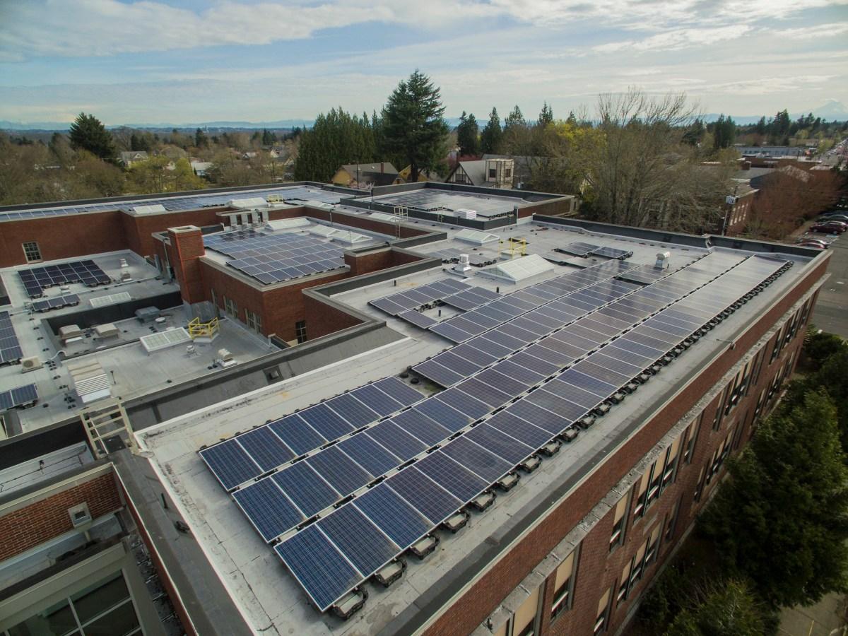 Solar panels on a school rooftop in Oregon.
