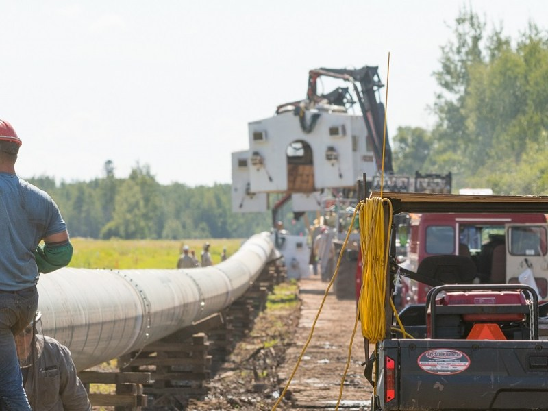 Workers assemble the Line 3 pipeline.