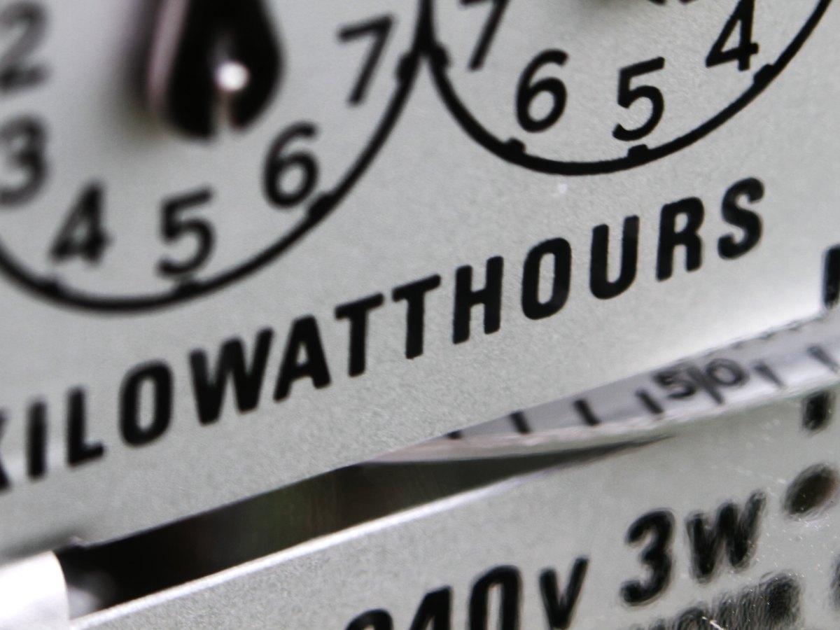 Closeup of an electrical meter.