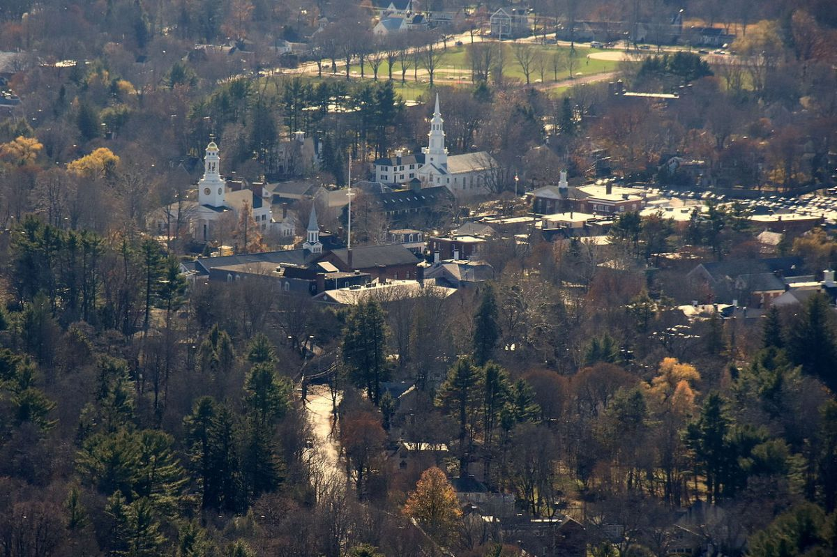 Aerial view of Concord, Massachuetts.