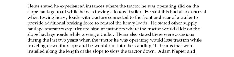 An excerpt of another miner's experience with machines slipping on the slope, as described in the MSHA fatality report following Tyler Rath's death.