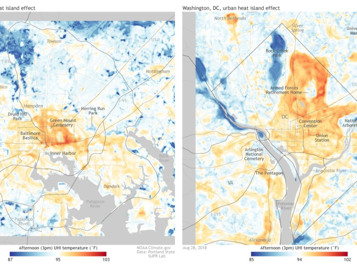 Maps provided by the National Oceanic and Atmospheric Administration illustrate urban heat islands in Baltimore, Maryland, and Washington, D.C.