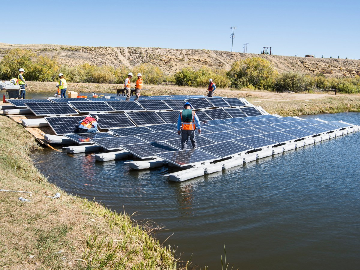 A floating PV array on a water retention pond at a Colorado water facility.
