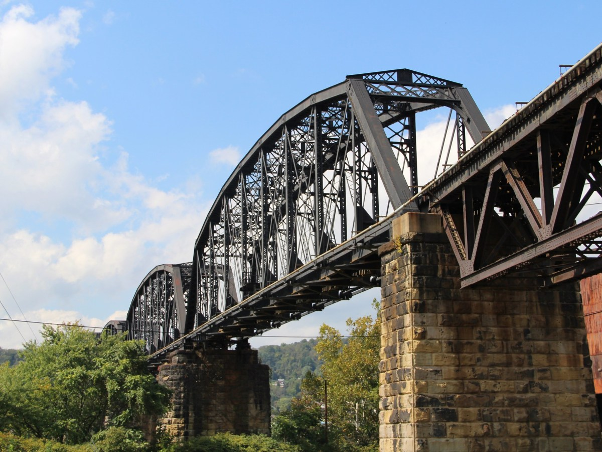 The historic Benwood Bridge between Belmont County, Ohio, and Marshall County, West Virginia.