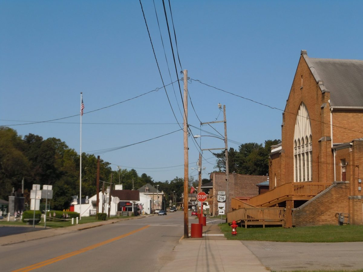 One of the few main streets in New Straitsville, Ohio, on a quiet Friday morning in September.