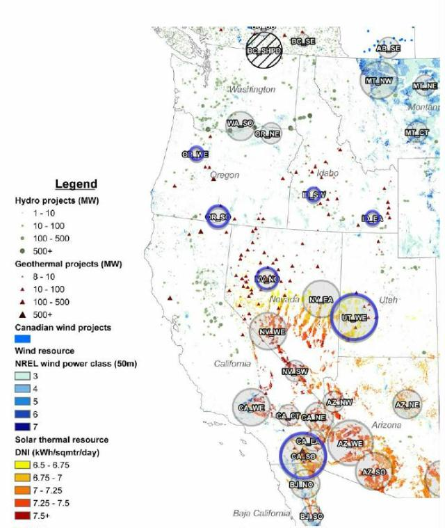 Each gray-shaded circle indicates a renewable energy zone (REZ) hub. Blue circles indicate hubs with significant geothermal potential: Oregon south, Idaho southwest, Idaho east, Idaho southwest, Nevada north, Utah west, and California south. A hub represents a conceptual step-up transformer where the electricity generated by all renewable resources in the REZ would get onto the transmission system. Hub circles are scaled to show relative annual production potential of all renewable resources in the REZ. Circles are not intended to indicate precise location of a new substation; actual collection point may be anywhere in the vicinity of the hub.