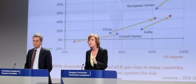 Günther Oettinger and Connie Hedegaard presenting a green paper on the framework for climate and energy policies towards 2030. (© European Union, 2013)