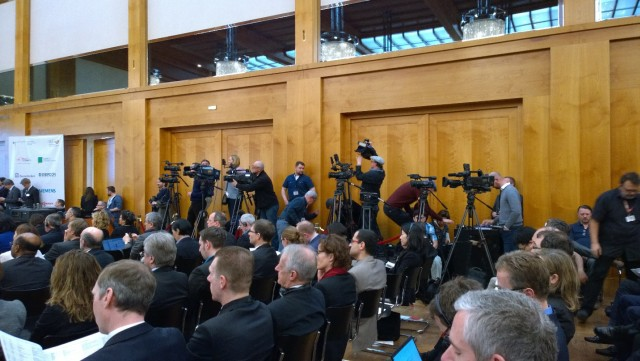 TV film crews were on hand for the opening remarks made by German Foreign Secretary Steinmeier and Energiewende Minister Gabriel. German Environmental Minister Hendricks opened the second day of the conference. (Source: Craig Morris)