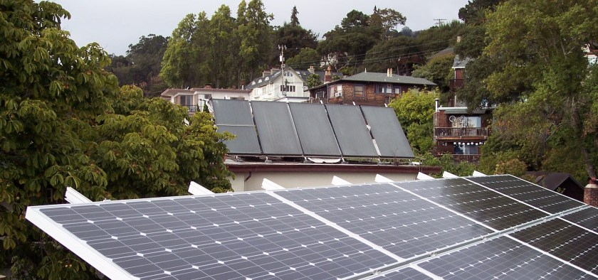Solar water heating panels and solar photovoltaic panels in Berkely, California