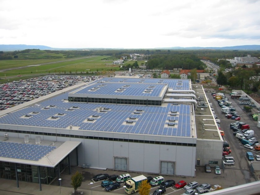 Caption: The Trade Show grounds in Freiburg, with a 225 kW PV array. Photo: Craig Morris
