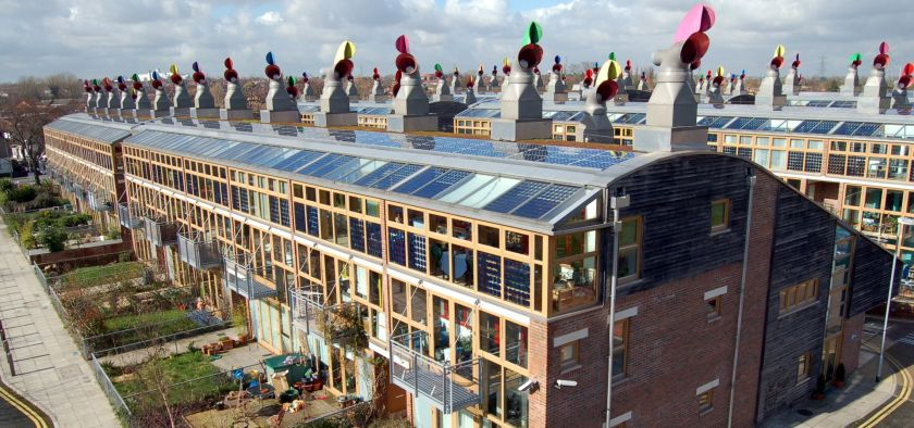 view of rooftops of the eco village BEdZED in the UK