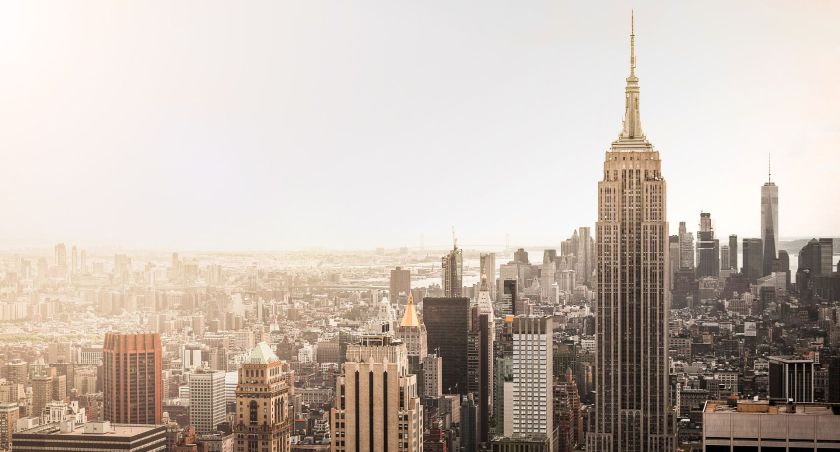 New York skyline seen from above with muted colors and fog