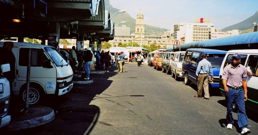 Taxi rank with view of Cape Town behind