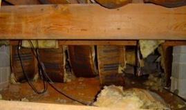 crawl space fiberglass batt insulation falling down