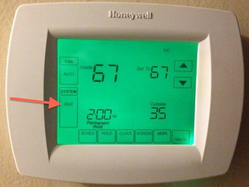 thermostat hvac heat pump best mode heating arrow