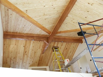 tongue and groove pine ceiling under structural insulated panel sip roof