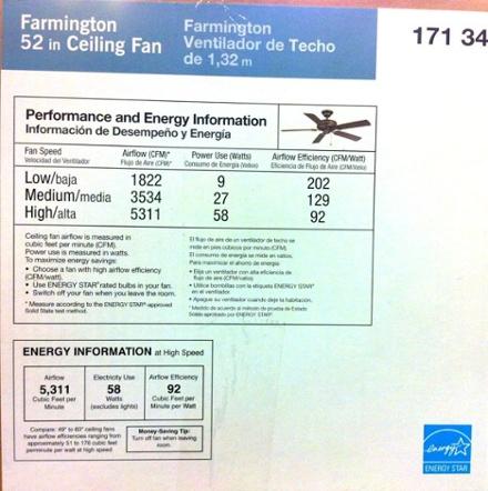ceiling fan energy efficiency label 92 cfm per watt
