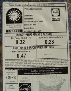 building envelope windows NFRC label u value solar heat gain coefficient