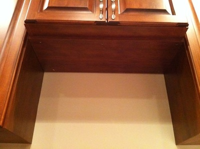 indoor air quality iaq range hood cabinet niche missing duct hole