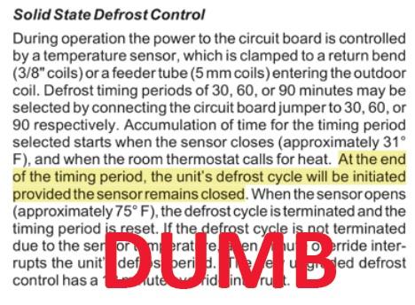 heat pump defrost cycle temperature sensor dew point dumb