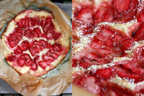 2 bilder av jordbærfoccacia