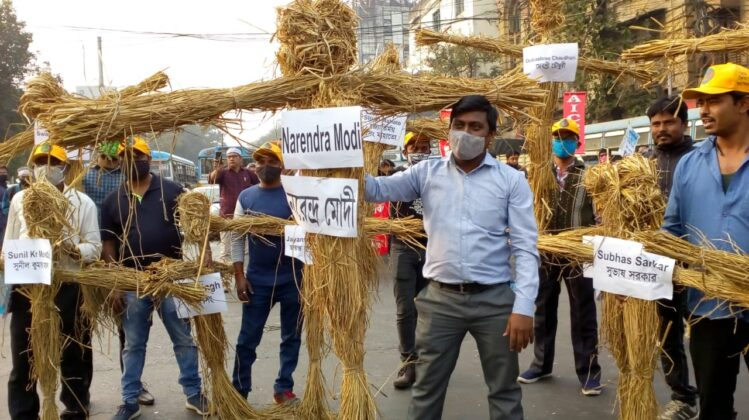 farmers protest burning farm laws kisan AIKSCC Kolkata Bengal Punjab Republic Day