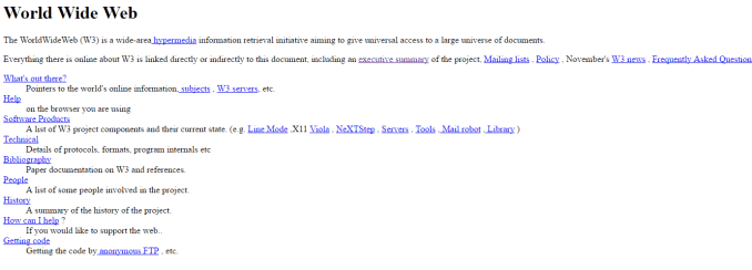 The first website courtesy of CERN