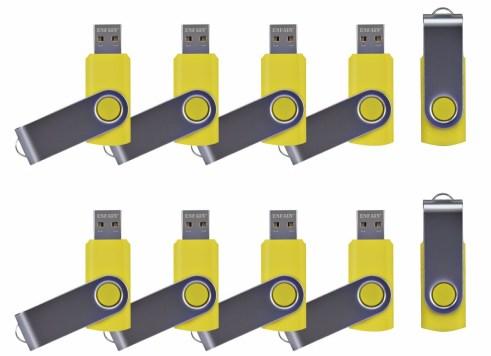 ENFAIN ZIP USB DRIVES YELLOW 10 PACK