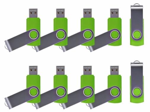 ENFAIN USB MEMORY STICKS GREEN 10 PACK