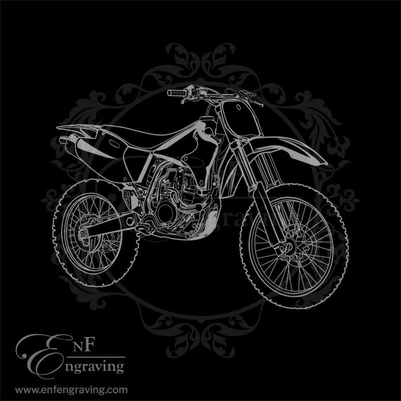 Motocross Bike Engraving Artwork