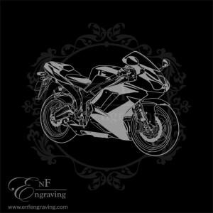 Racing Bike Engraving Artwork