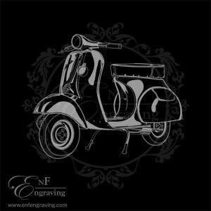 Vespa Scooter Engraving Artwork