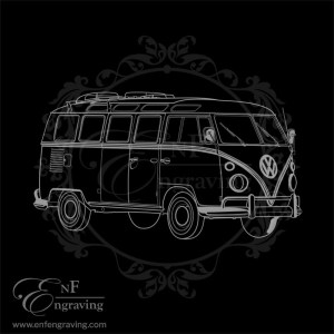 Vintage Hippy Camper Engraving Artwork