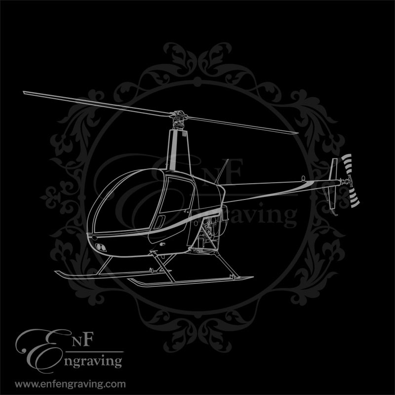 Robinson R22 Helicopter Engraving Artwork