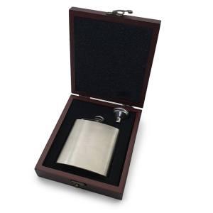 6oz Hip Flask in Wooden Presentation Box
