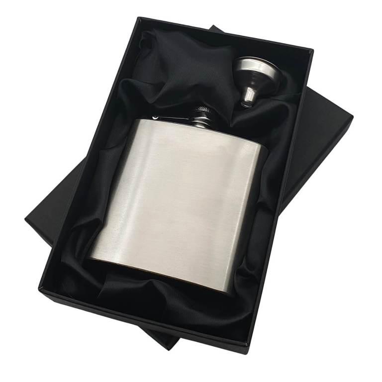 Silver Hip Flask in Black Satin Lined Presentation Box
