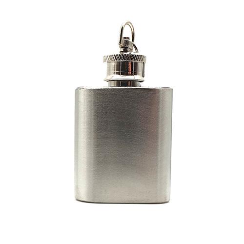 1oz Silver Steel keyring Flask