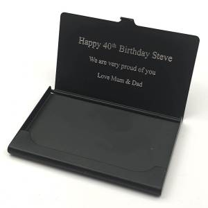 Black Card Holder with Text Engraved on the Inside